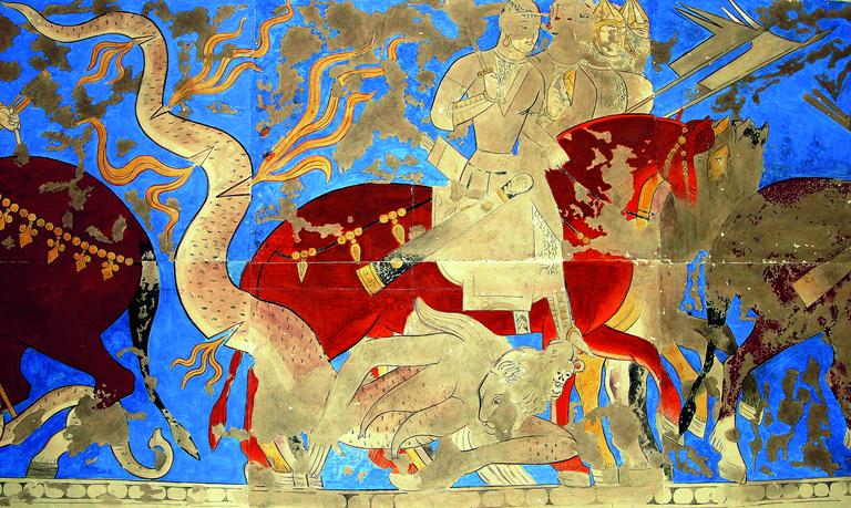 Zoroastrian Fresco from the Sogdian Town of Penjikent