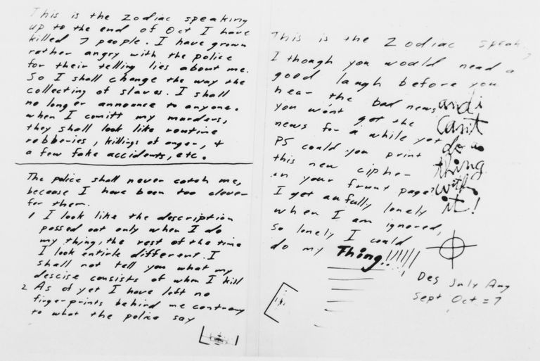 Handwritten Note from Zodiac Killer