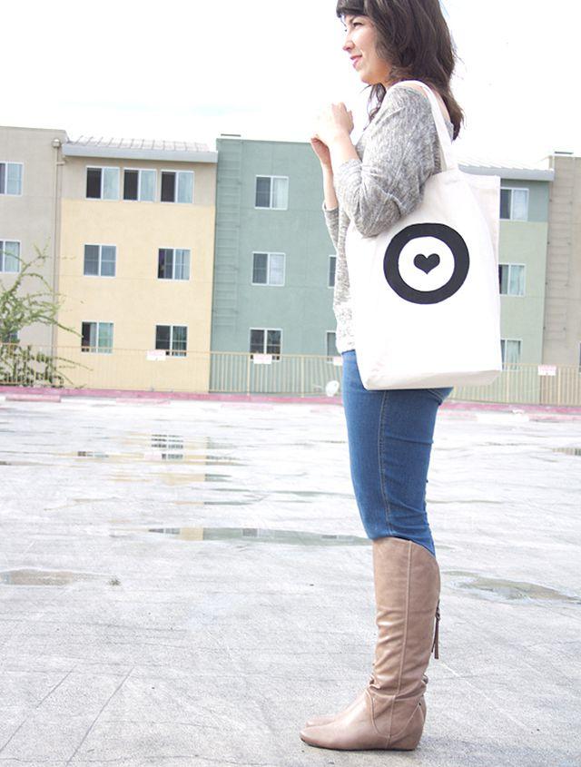 DIY Stencil Heart Target Tote
