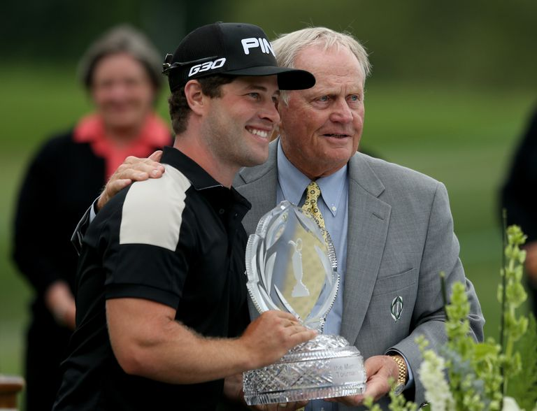 David Lingmerth of Sweden holds the tournament trophy with Jack Nicklaus after winning The Memorial Tournament presented by Nationwide in a three hole playoff against Justin Rose at Muirfield Village Golf Club on June 7, 2015