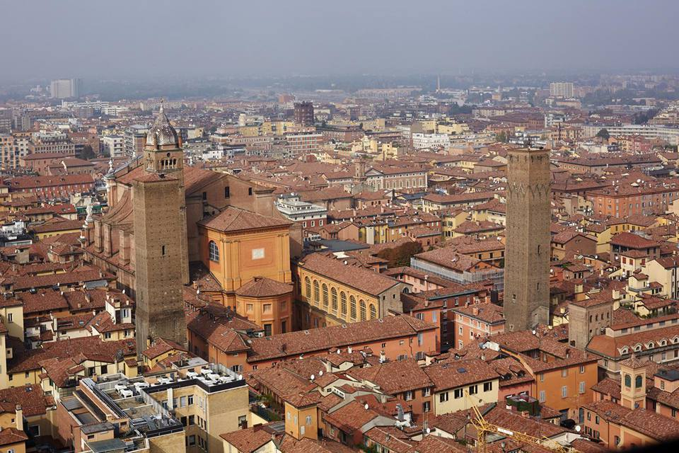 Aerial view of the historic center of Bologna