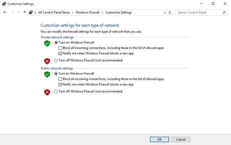 Screenshot of the Windows Firewall settings in Windows 10