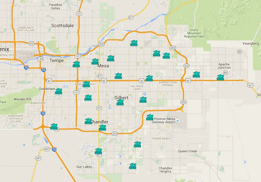 Phoenix East Valley Public Swimming Pools