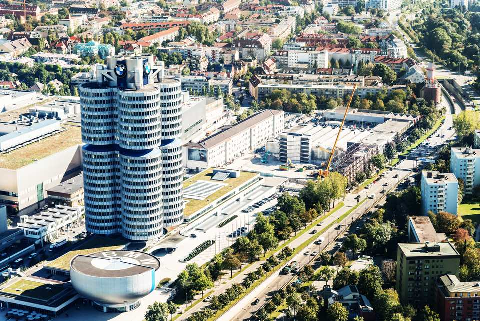 Aerial view of Munich with BMW Headquarter