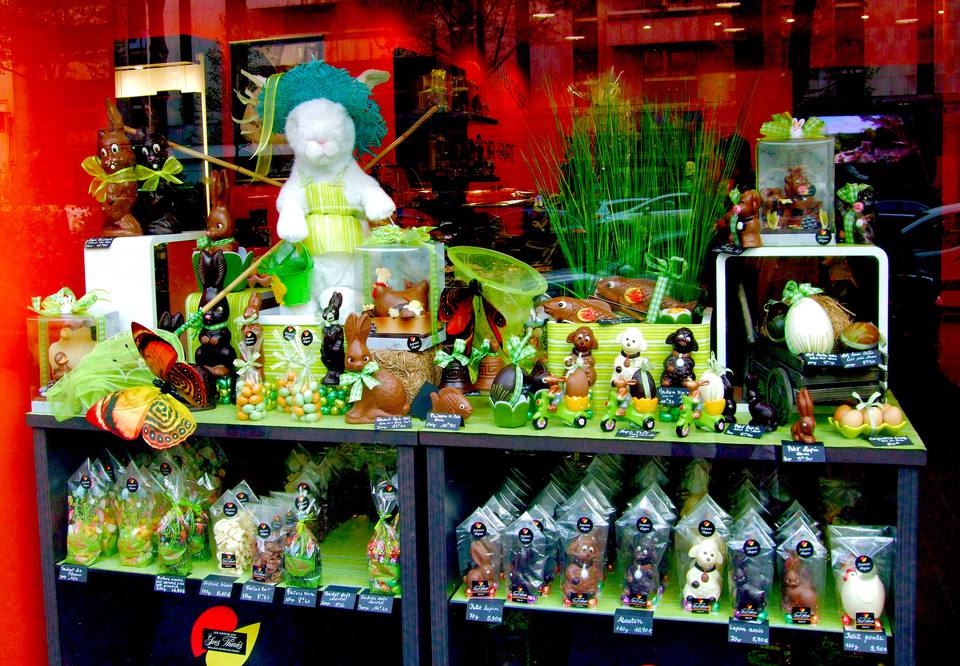 A shop window in Paris displays Easter chocolate treats.
