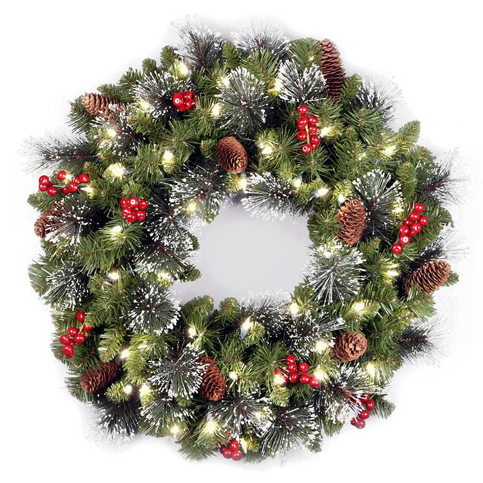 pine decorative decorated garlands garland led wreaths artificial christmas s and main treetime berry decor wreath