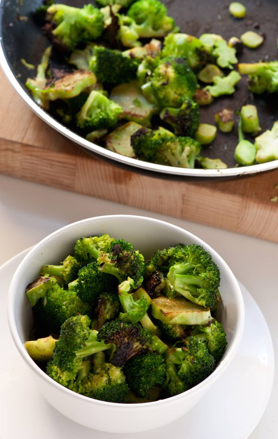 Spanish style broccoli recipe with olives and ham.
