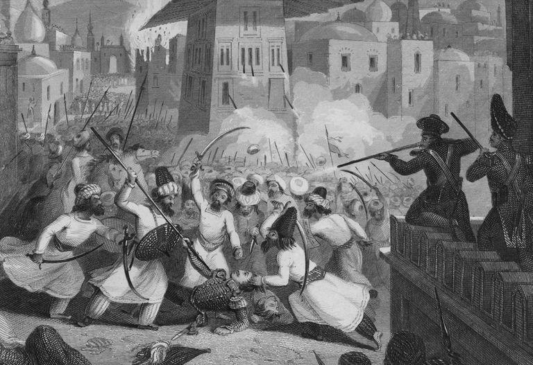 Illustration of the assassination of Sir Alexander Burnes