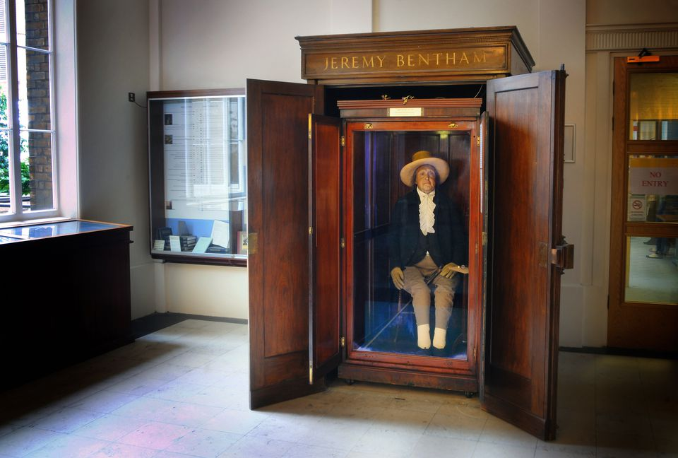 The Auto Icon of philosopher JEREMY BENTHAM at University College London (UCL)