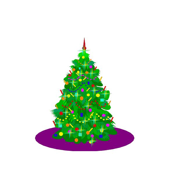 A decorated Christmas tree.