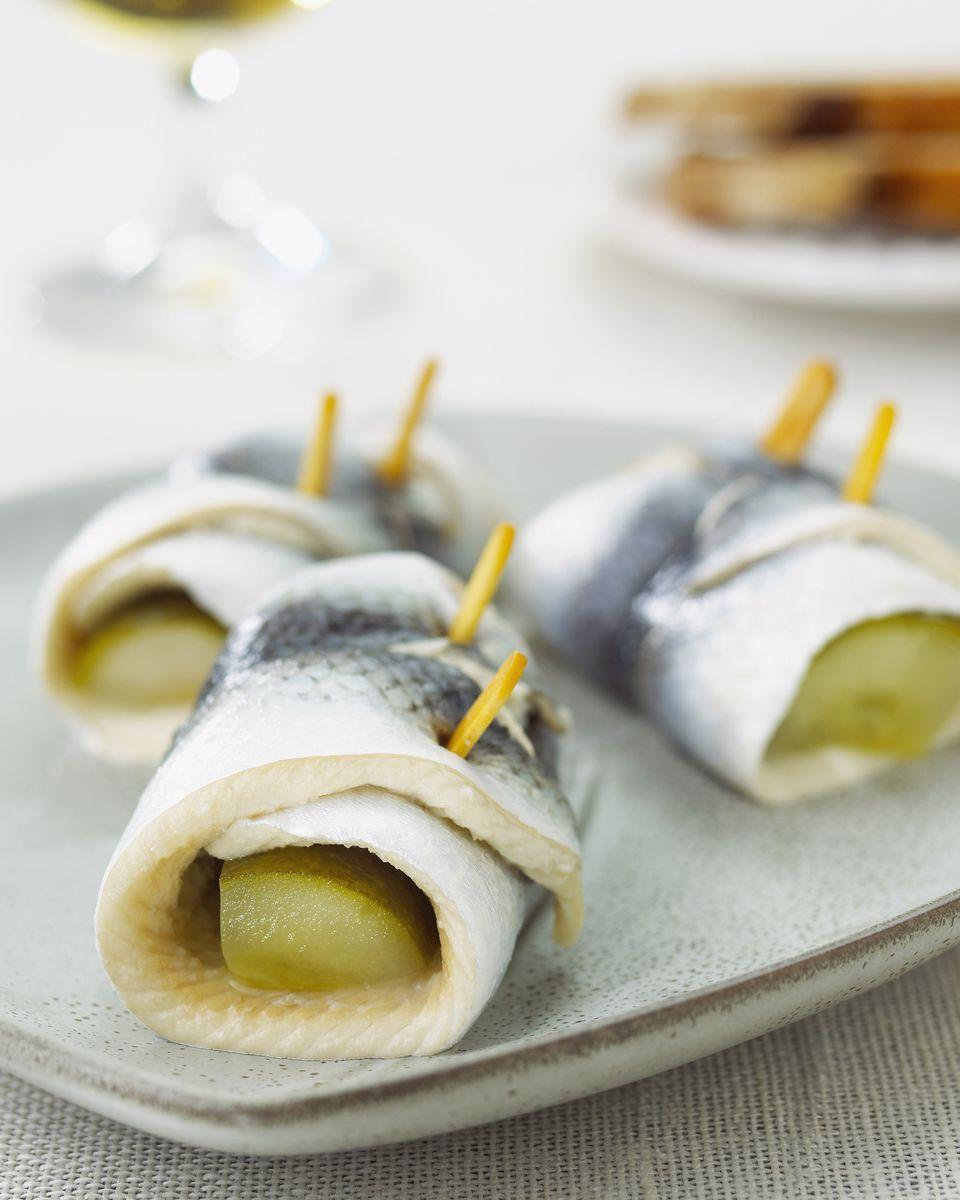 Pickled herring rolls