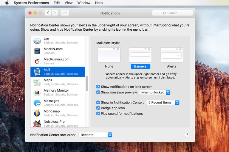 Notification preference pane for OS X El Capitan