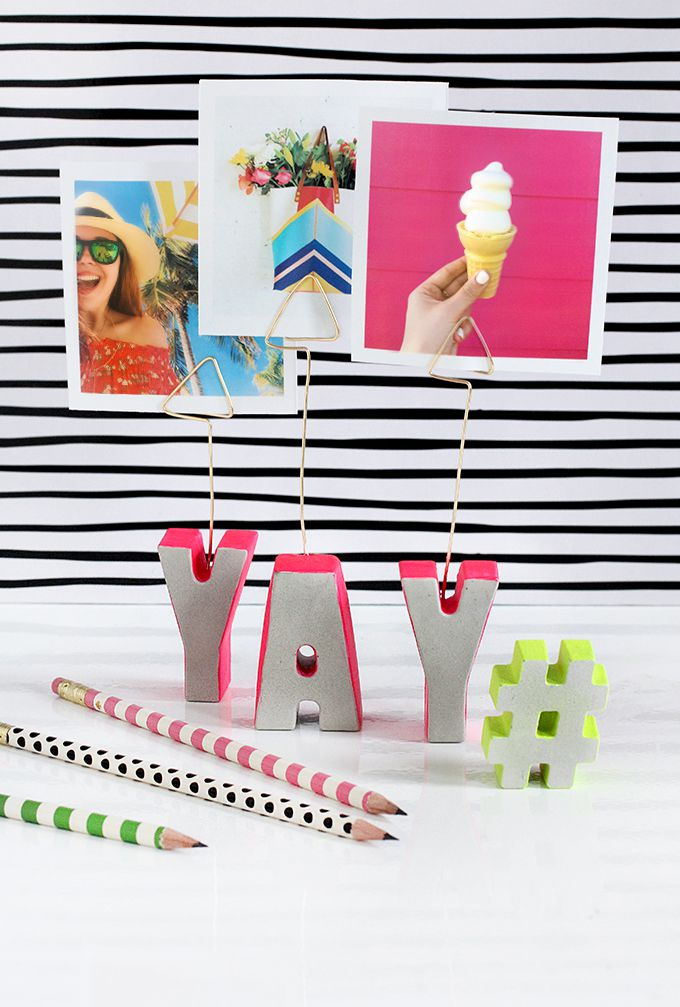 DIY Cement Letter Photo Holders