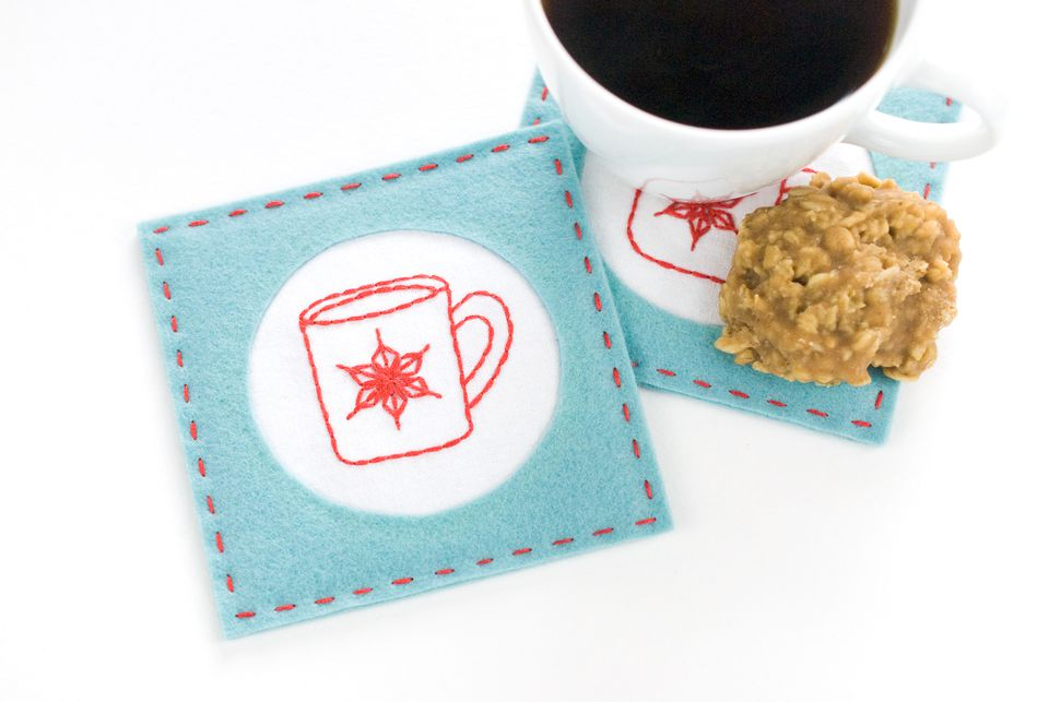 Easy Embroidered Felt Coasters