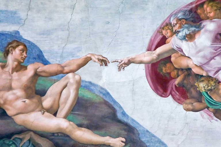 God and the Creation of Adam in the Sistine Chapel
