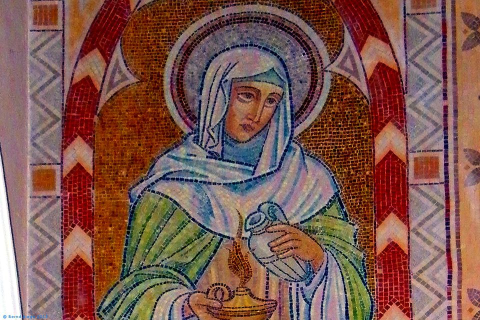 Almost Byzantine image of Saint Brigid - in a Catholic church bearing her name, in Oldcastle (County Meath).