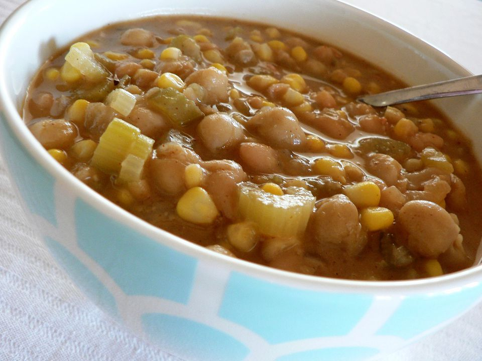 Vegetarian white bean chili with celery and corn