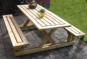 15 free picnic table plans in all shapes and sizes free picnic table plan from andre b for instructables malvernweather Choice Image