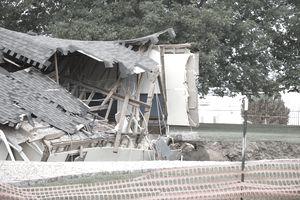 Building damaged by a sinkhole