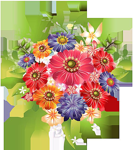 Clip Art Of A Bouquet Of Summer Flowers