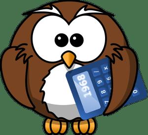 An owl holding a calculator