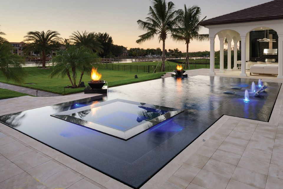 rectangular pool - Rectangle Pool With Spa