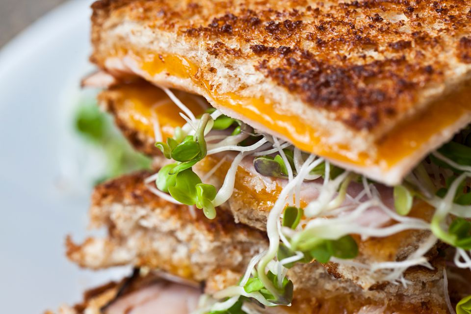 grilled cheese with sprouts and ham