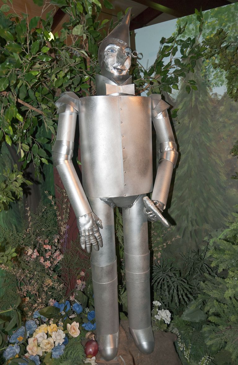 Tin Man character at Land of Oz, inspired by 1939 motion picture The Wizard of Oz.