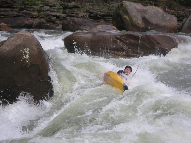 A Kayak Flips Over on Lower Coliseum on the Cheat River Canyon