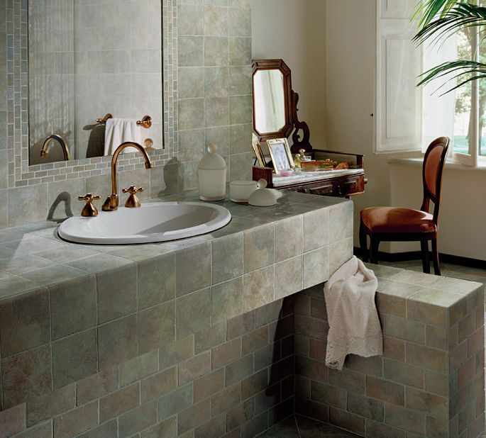 Tile counter ideas for kitchens and baths - How to decorate a bathroom counter ...