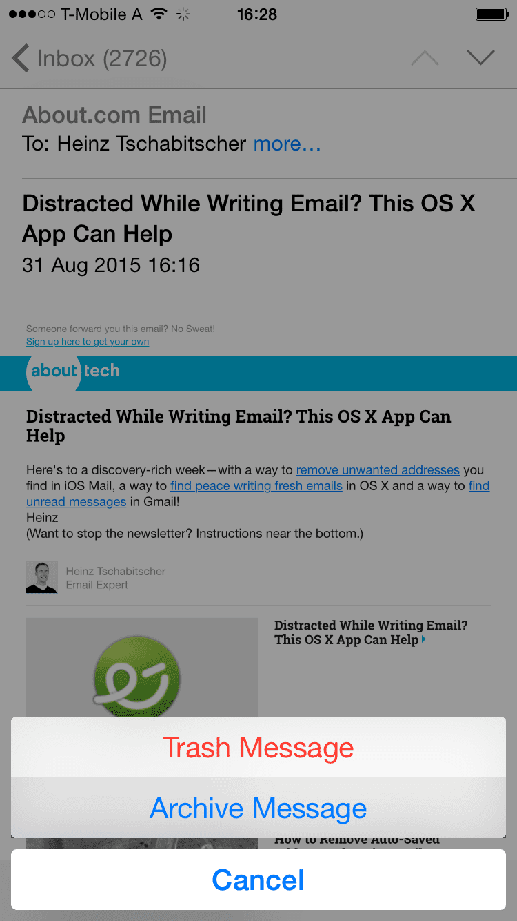 The Archive button menu in iOS Mail 8