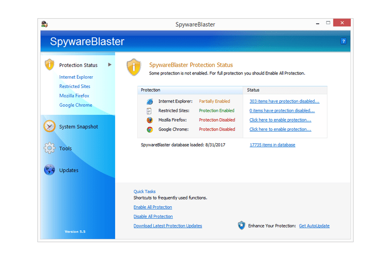 Screenshot of SpywareBlaster in Windows 8