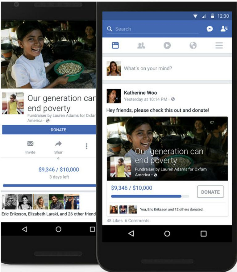 Facebook mobile app that lets donors help raise money for a cause.