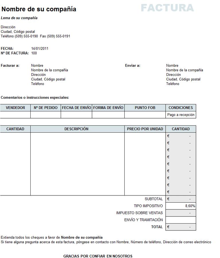 Cómo hacer una factura en Excel?