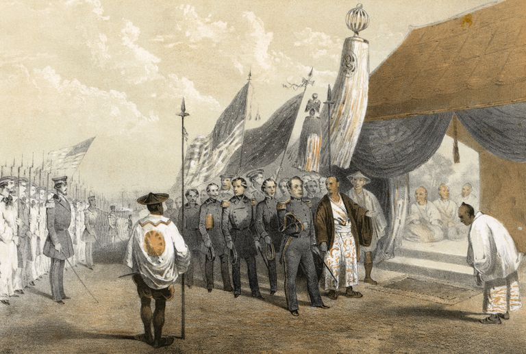 Illustration of Commodore Petty meeting Japanese officials