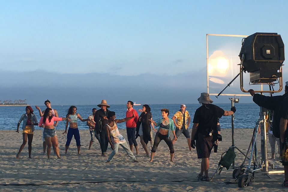 Film scene being shot on the beach in Long Beach