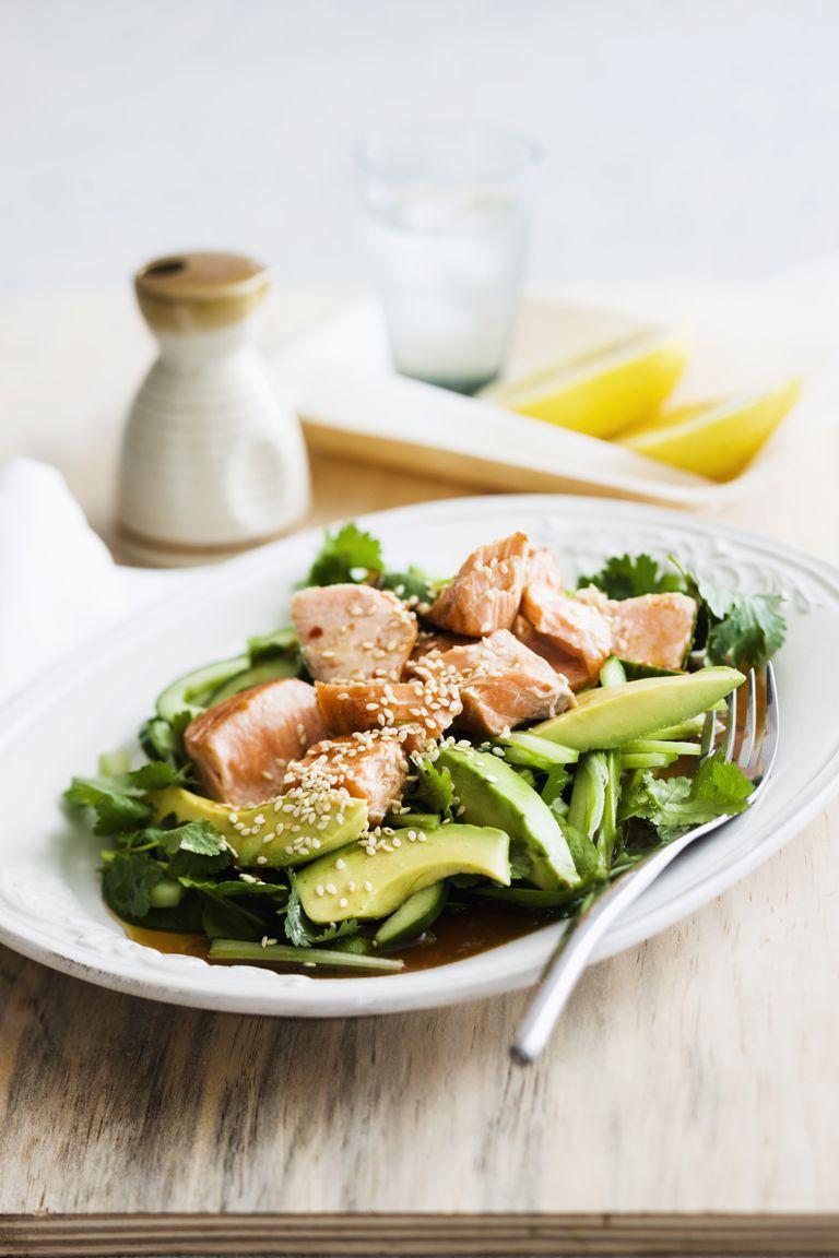 plate of salad and salmon