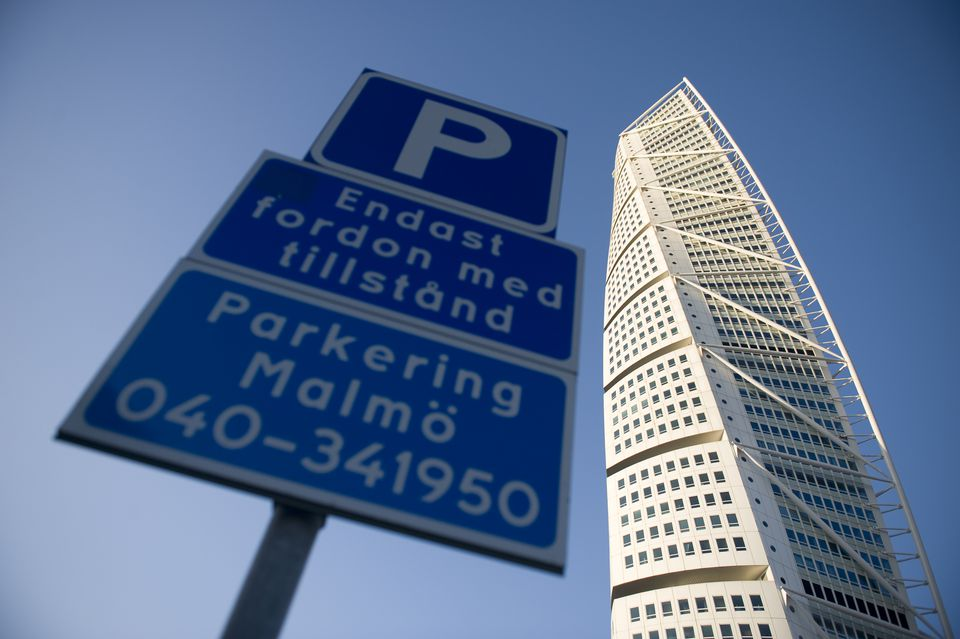 HSB Turning Torso with parking sign, Malmo, Sweden