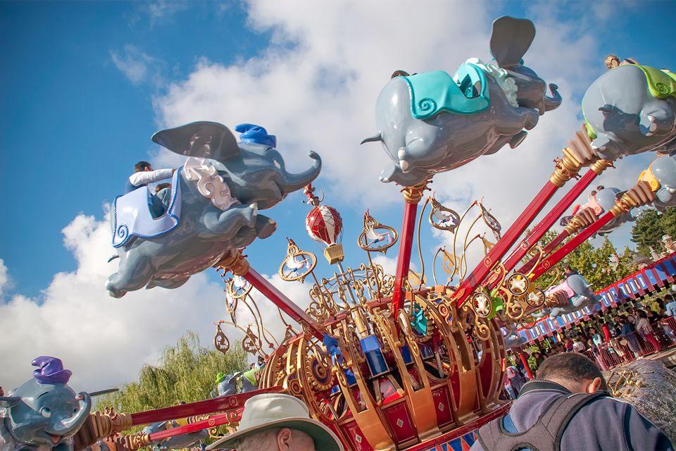 Riding the Dumbo Ride at Disneyland