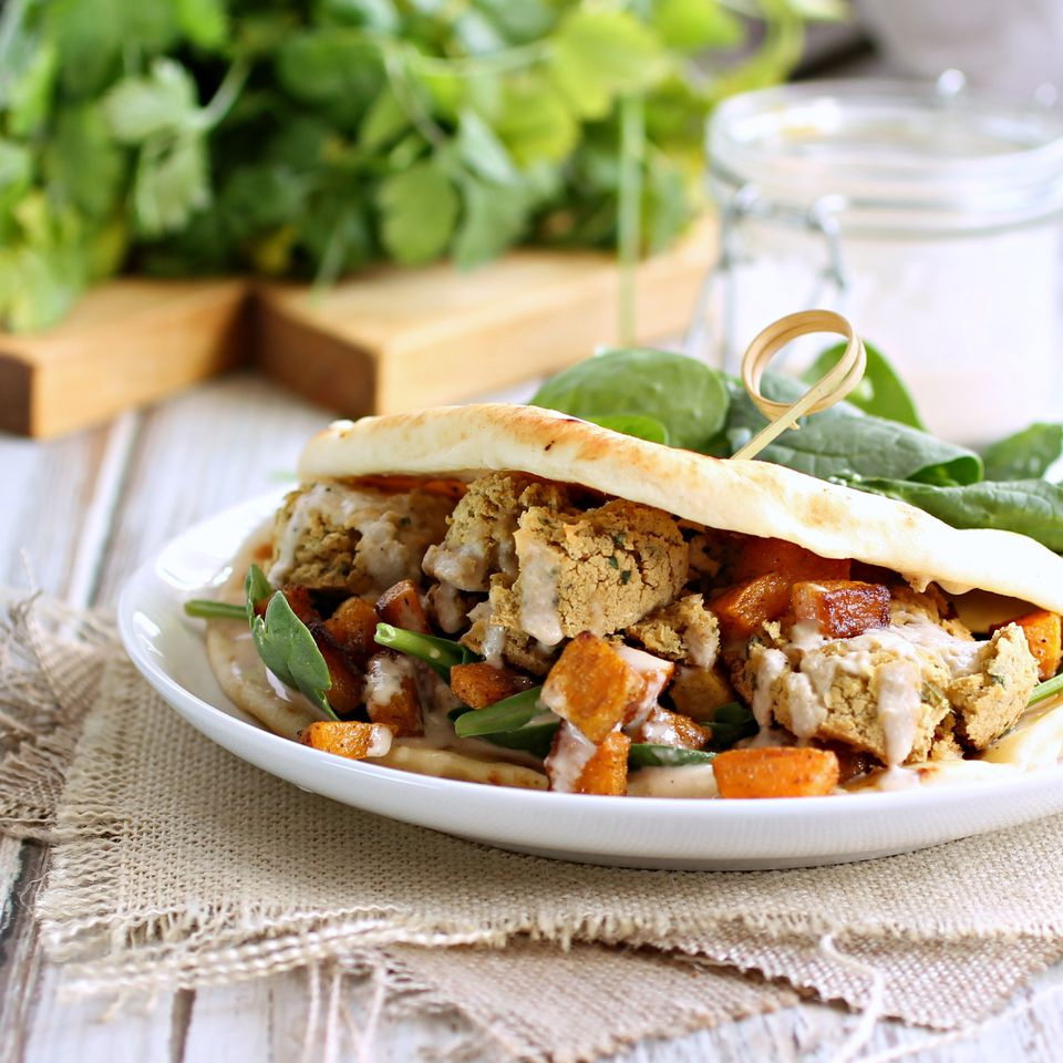 Falafel, Tahini and Cumin Roasted Butternut Squash Sandwich