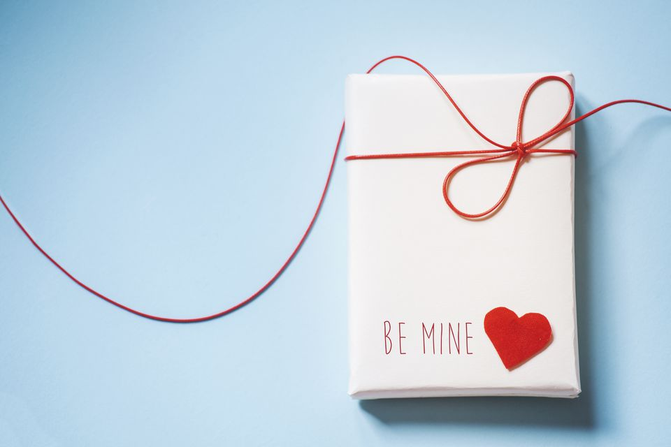 Valentines gift parcel wit red heart