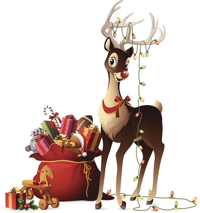 Rudolph with sack full of gifts