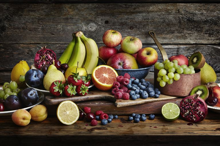 Assorted fruit in a wooden board