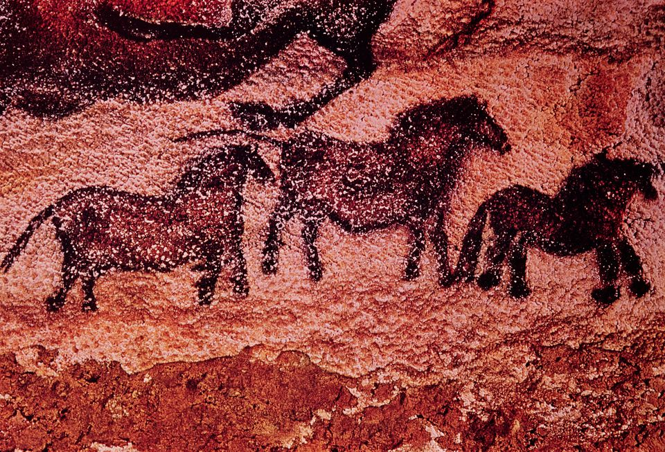 Rock painting of tarpans (ponies), c.17000 BC
