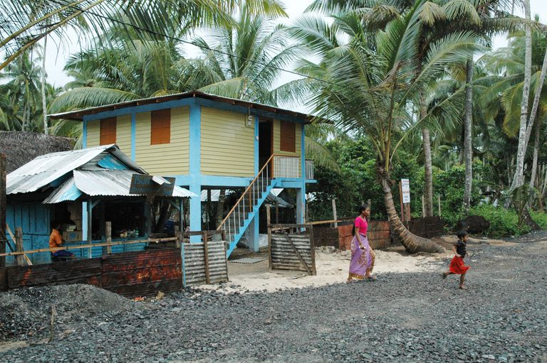 Prototype tsunami-resistant shelter in Car Nicobar in the Bay of Bengal, India