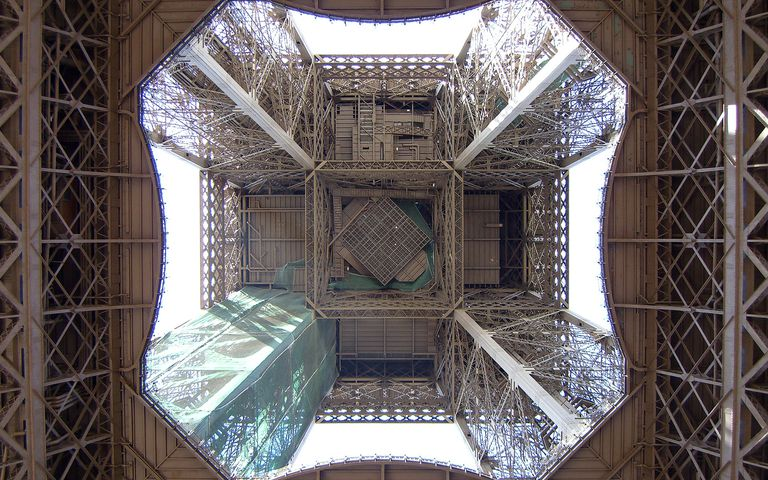 The Eiffel Tower in Paris seen from underneath