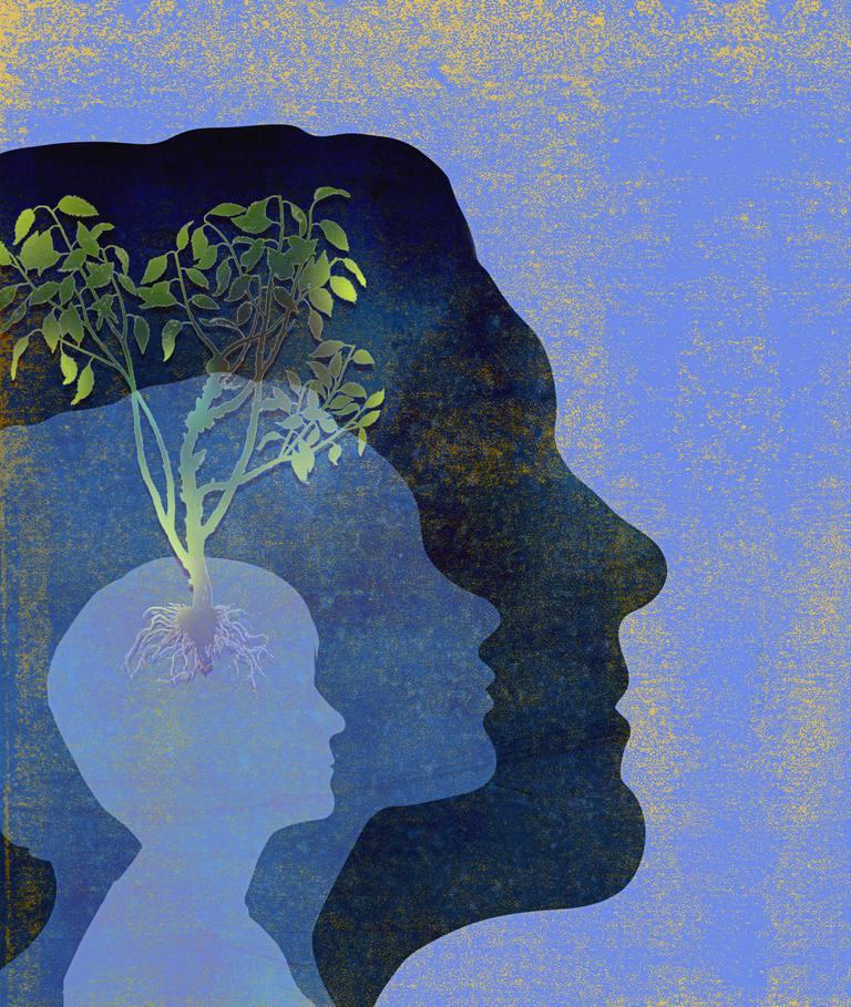 Dibujo de hombre con árbol creciendo en su cerebro