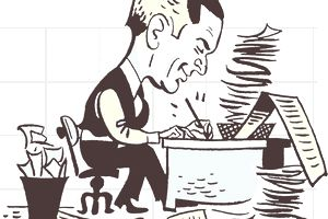 Drawing of businessman writing furiously