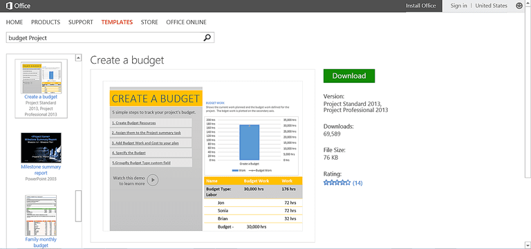onenote budget template