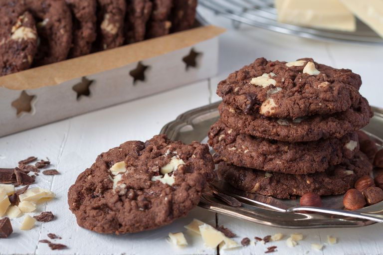 Chocolate cookies on a silver dish